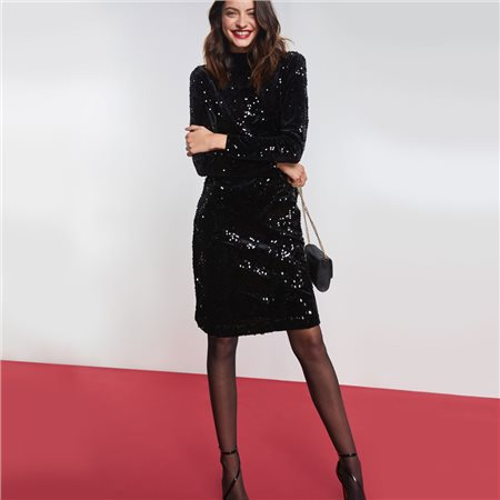 Taifun Sequin Dress Black  - Click to view a larger image
