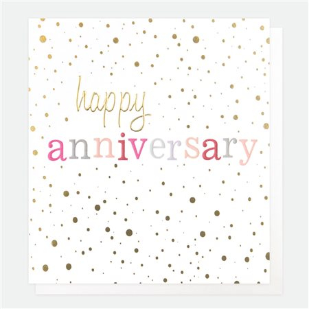 Caroline Gardner Happy Anniversary Card White  - Click to view a larger image