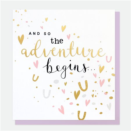 Caroline Gardner And So The Adventure Begins Card White  - Click to view a larger image