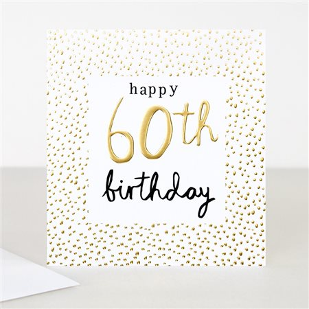 Caroline Gardner Gold 60th Birthday Card White  - Click to view a larger image