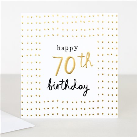Caroline Gardner Gold 70th Birthday Card White  - Click to view a larger image