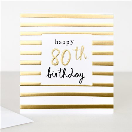 Caroline Gardner Gold 80th Birthday Card White  - Click to view a larger image
