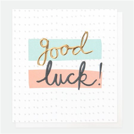 Caroline Gardner Good Luck Card White  - Click to view a larger image