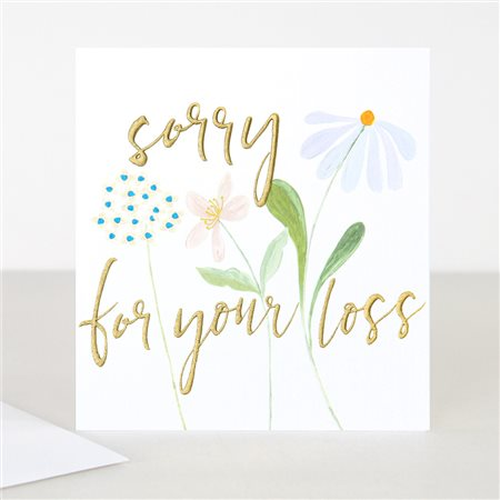 Caroline Gardner Sorry For Your Loss Sympathy Card White  - Click to view a larger image