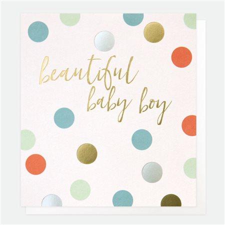 Caroline Gardner Beautiful Baby Boy Card White  - Click to view a larger image