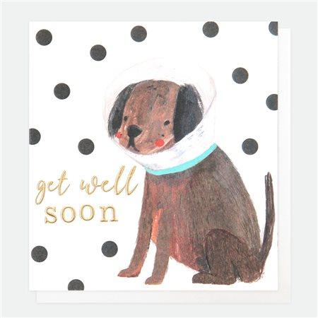 Caroline Gardner Get Better Soon Dog Card White  - Click to view a larger image
