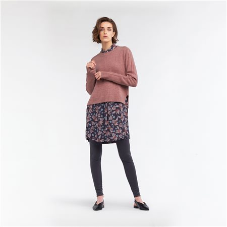 Sandwich Round Neck Knitted Jumper Blush  - Click to view a larger image
