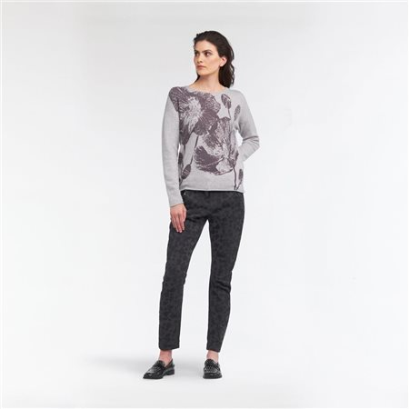 Sandwich Flower Print Jumper Grey  - Click to view a larger image