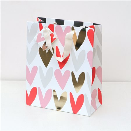 Caroline Gardner Red & Pink Metallic Hearts Small Gift Bag White  - Click to view a larger image