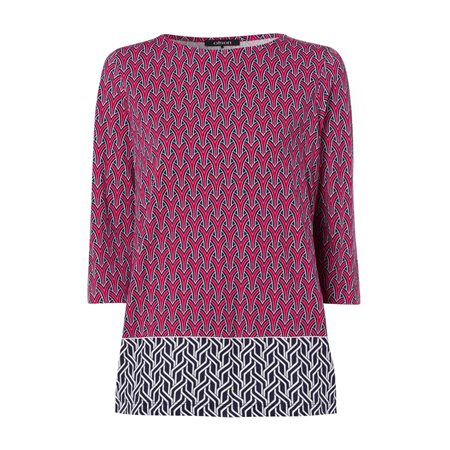 Olsen 3/4 Sleeve Graphic Top Red  - Click to view a larger image