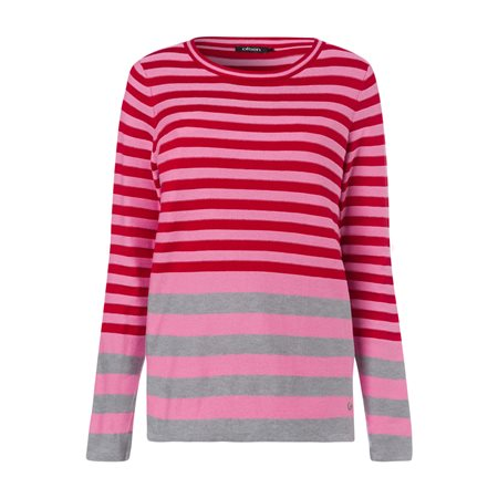 Olsen Round Neck Stripe Jumper Pink  - Click to view a larger image