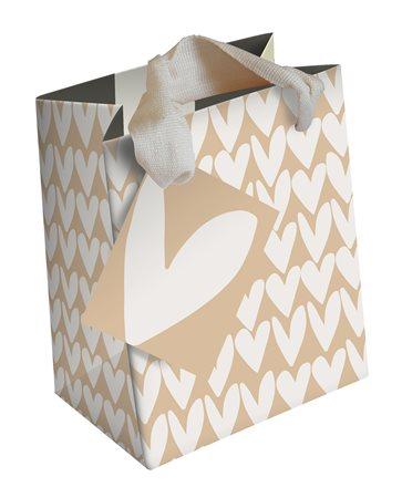 Caroline Gardner Kraft Hearts Stripe Medium Gift Bag White  - Click to view a larger image