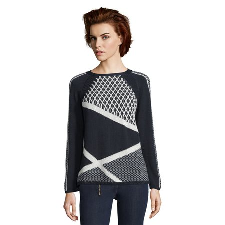 Betty Barclay Trellis Knit Jumper Blue  - Click to view a larger image