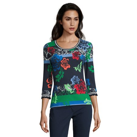 Betty Barclay Ribbed Floral Top Blue  - Click to view a larger image