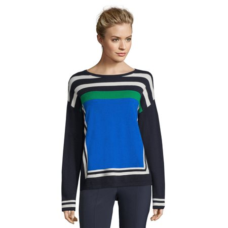 Betty Barclay Colour Block Jumper Blue  - Click to view a larger image