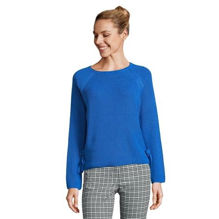 Betty Barclay Round Neck Jumper With Tie Detail Blue  - Click to view a larger image