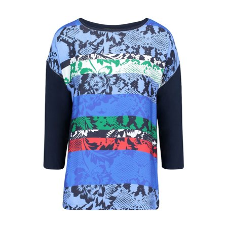 Betty Barclay 3/4 Sleeve Graphic Print Top Blue  - Click to view a larger image