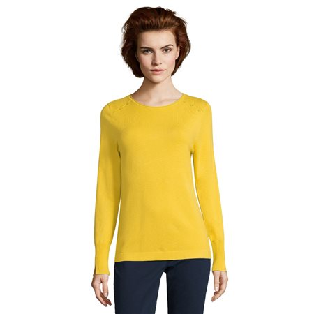 Betty Barclay Button Trim Knit Top Yellow  - Click to view a larger image