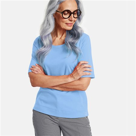 Gerry Weber 1/2 Sleeve Organic Cotton Top Blue  - Click to view a larger image