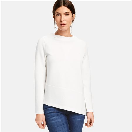 Gerry Weber 3/4 Sleeve Top With Asymmetrical Hem Off White  - Click to view a larger image