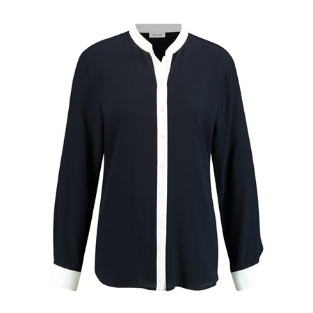 Gerry Weber Long Sleeve Blouse With Contrasting Edges Navy  - Click to view a larger image