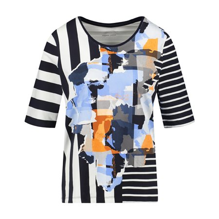 Gerry Weber Stripe Sleeve Top Blue  - Click to view a larger image