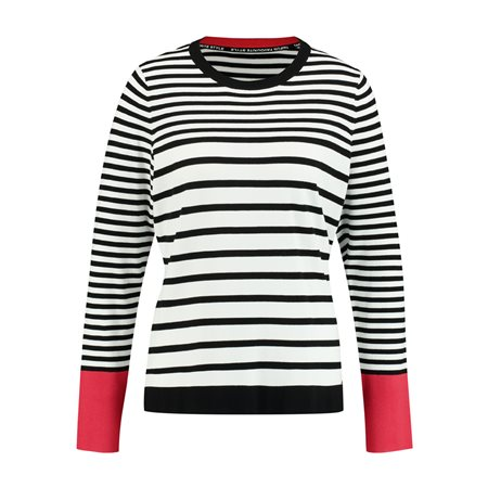 Taifun Black Stripe Jumper Off White  - Click to view a larger image