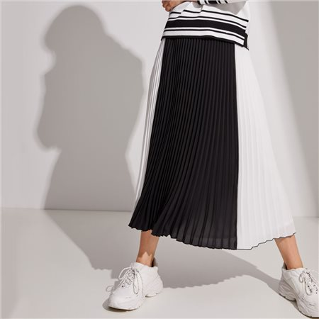Taifun Pleated Colour Block Skirt Black  - Click to view a larger image