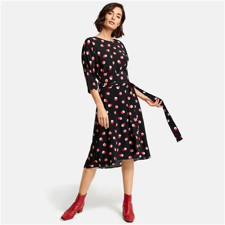 Taifun Midi Dress With Polka Dot Print Black  - Click to view a larger image