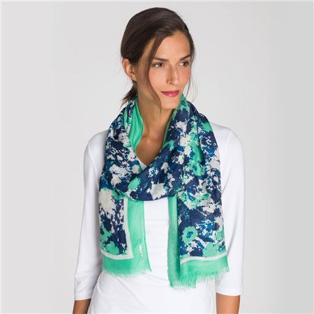 Olsen Floral Scarf Green  - Click to view a larger image