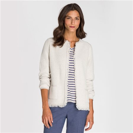 Olsen Fringed Cardigan Beige  - Click to view a larger image