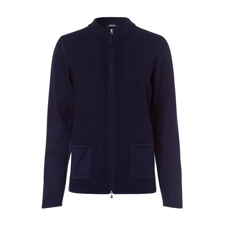 Olsen Ribbed Waffle Cardigan Navy  - Click to view a larger image
