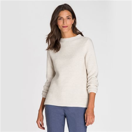Olsen High Neck Waffle Jumper Beige  - Click to view a larger image