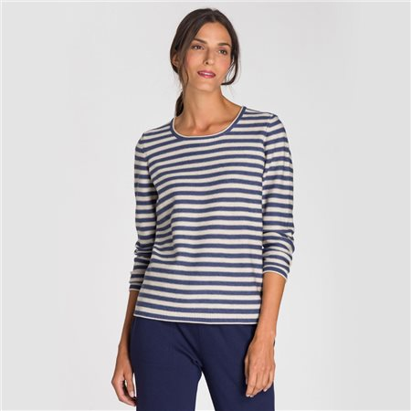 Olsen Striped Roll Neck Jumper Blue  - Click to view a larger image
