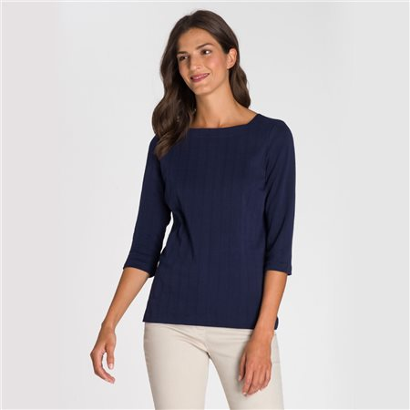 Olsen Square Neck Top Navy  - Click to view a larger image