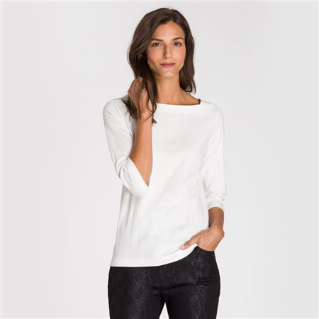 Olsen Square Neck Top Off White  - Click to view a larger image