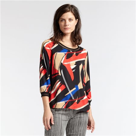 Sandwich Art Print 3/4 Sleeve Top Red  - Click to view a larger image