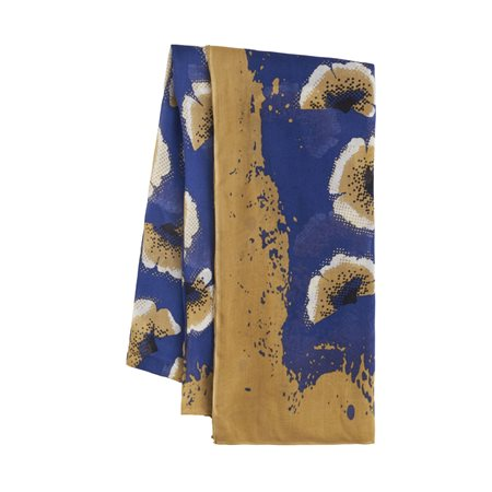 Sandwich Flower Print Scarf Blue  - Click to view a larger image