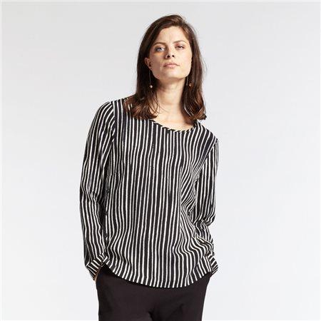 Sandwich Vertical Stripe Blouse Black  - Click to view a larger image