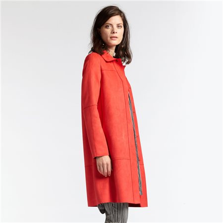 Sandwich Suedette Coat Red  - Click to view a larger image