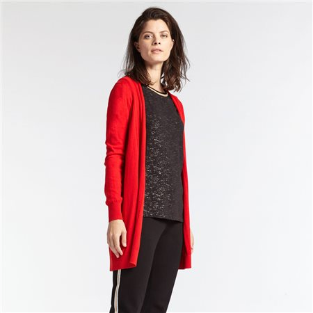 Sandwich Mid Length Cardigan Red  - Click to view a larger image