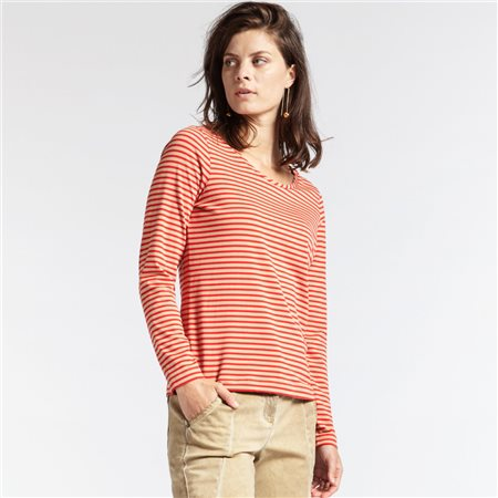 Sandwich Striped Full Sleeve Top Red  - Click to view a larger image