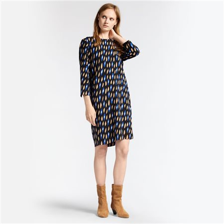 Sandwich Leaf Print Dress Blue  - Click to view a larger image