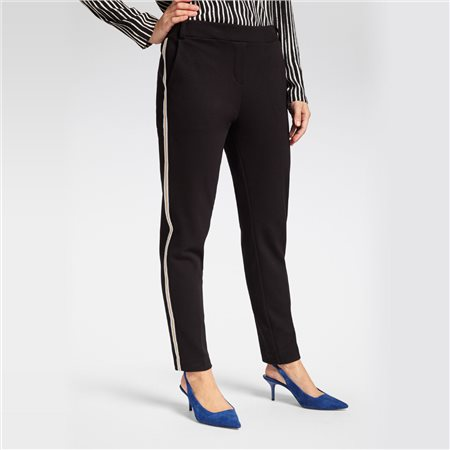 Sandwich Smart Trouser With Stipe Detail Black  - Click to view a larger image
