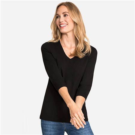 Olsen V Neck Top Black  - Click to view a larger image