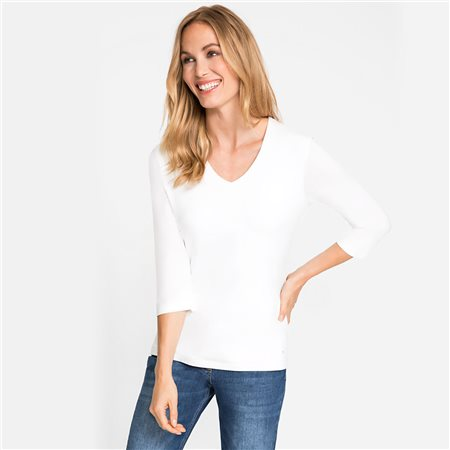Olsen V Neck Top White  - Click to view a larger image