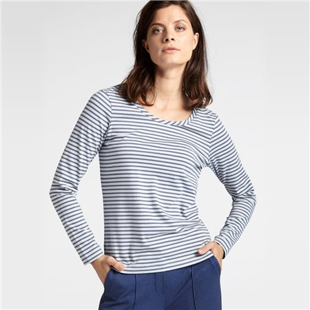 Sandwich Striped Full Sleeve Top Blue  - Click to view a larger image