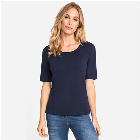Olsen Round Neck Cotton Top Navy  - Click to view a larger image