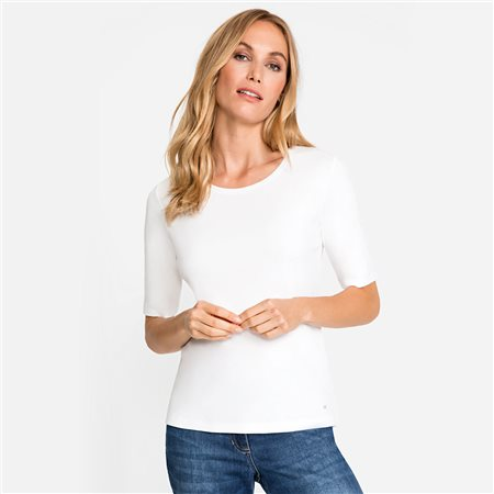 Olsen Round Neck Cotton Top Off White  - Click to view a larger image
