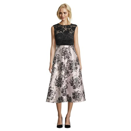 Vera Mont Floral Dress Black  - Click to view a larger image